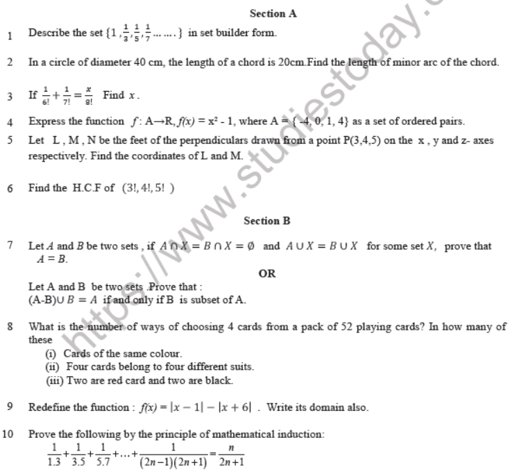 CBSE Class 11 Mathematics Question Paper Set L Solved