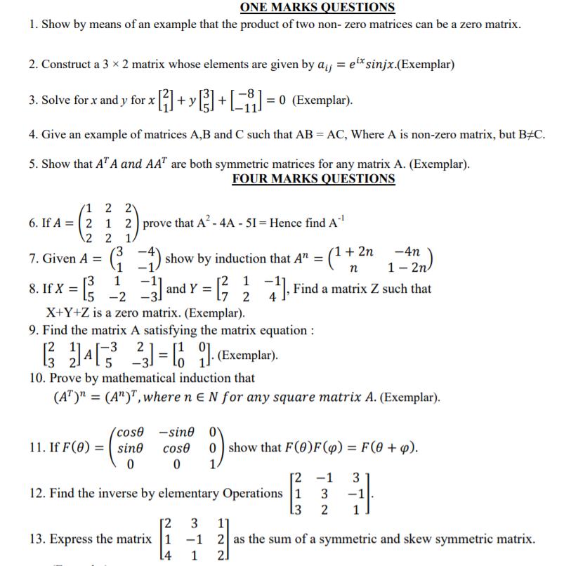 CBSE Class 12 Mathematics Matrices & Determinants (1 ...