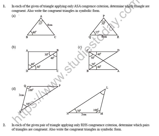 Class 7 Maths Congruence Of Triangles Worksheet