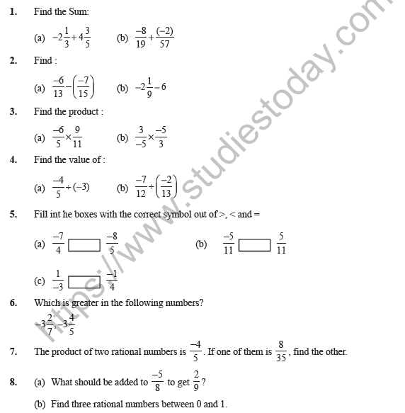 Class 7 Maths Rational Numbers Worksheet