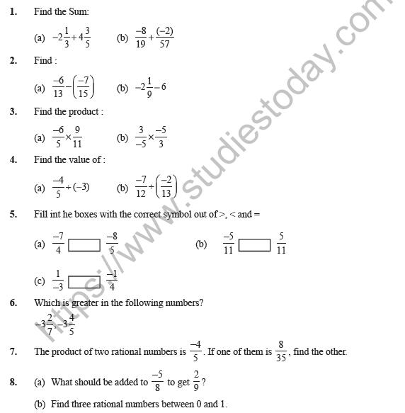 Class 7 Maths Rational Numbers Worksheet