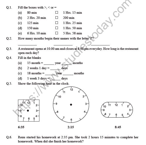 Class 4 Maths Tick Tick Tick Worksheet