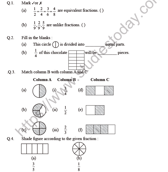 Class 5 Maths Parts And Whole Worksheet Set B
