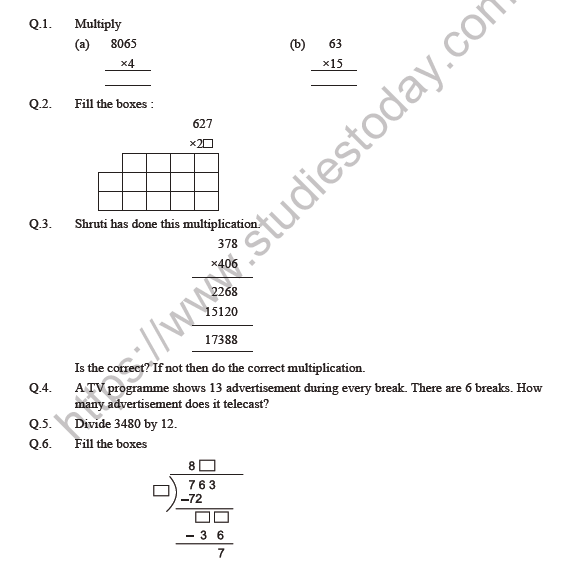 Class 5 Maths Ways To Multiply And Divide Worksheet