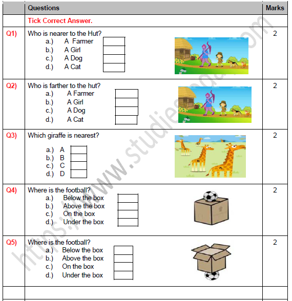Cbse Class 1 Maths Shapes And Space Worksheet Set C