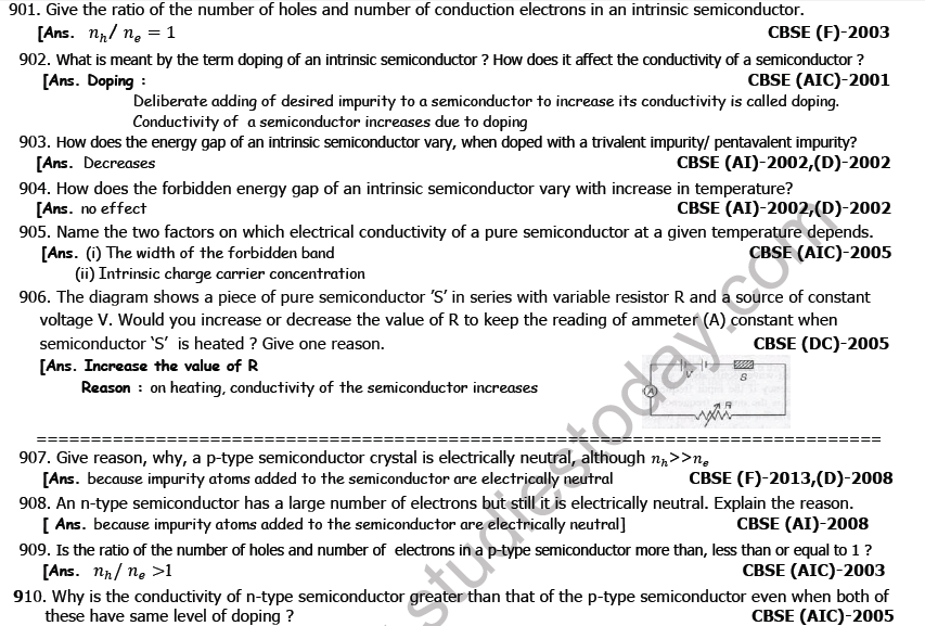 Class 12 Physics Semiconductor Electronic Devices Boards Questions