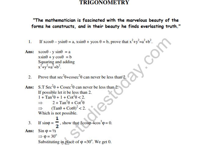 All trigonometric identities class 11 pdf | NCERT Solutions for