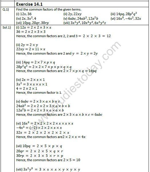 NCERT Solutions Class 8 Mathematics Factorisation