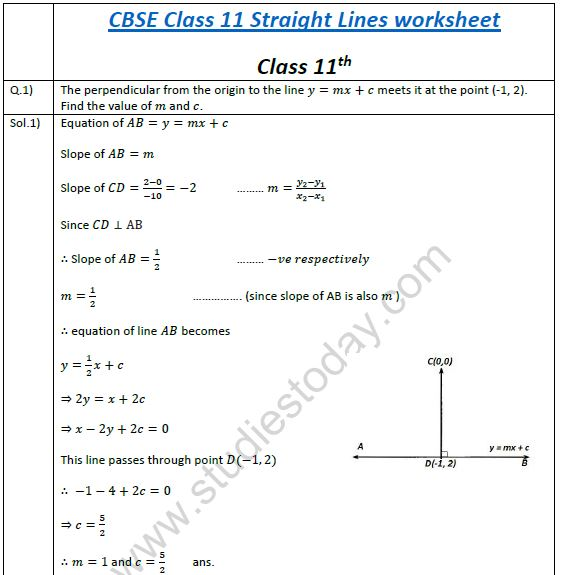 CBSE Class 11 Mathematics Worksheet - Straight Lines (3), Practice ...