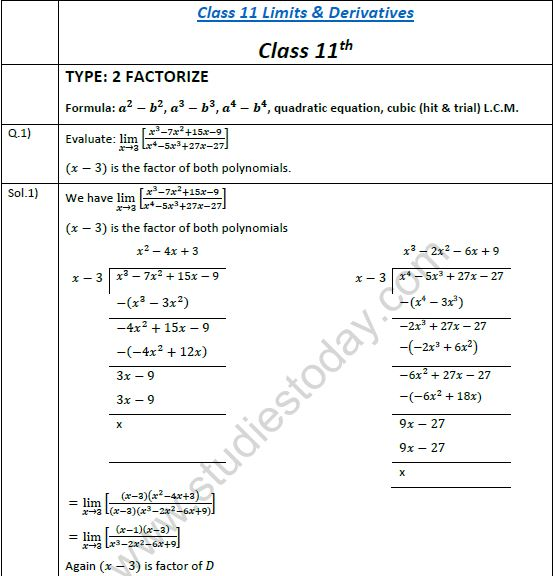 CBSE Class 11 Assignment for Limits and Derivatives (3)