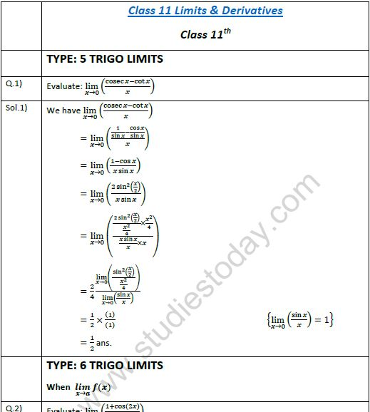 limits test with answers