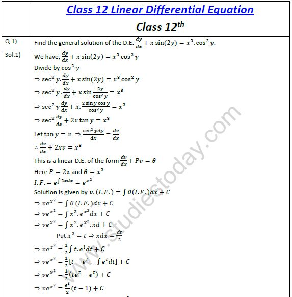 CBSE Class 12 Mathematics Linear Differential Equations (2) Practice ...