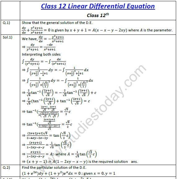 CBSE Class 12 Mathematics Linear Differential Equations (5) Practice ...