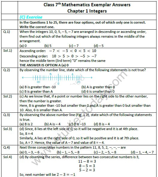 CBSE Class 7 Mathematics Integers Exemplar Solutions
