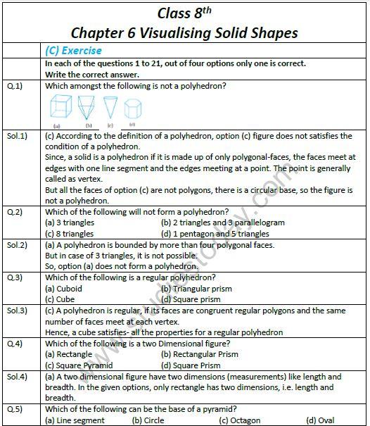 CBSE Class 8 Mathematics Chapter 6 Visualising Solid Shapes