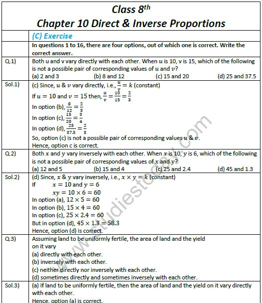 Cbse Class 8 Mathematics Chapter 10 Direct And Inverse Proportions