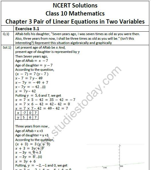 NCERT Solutions Class 10 Mathematics Chapter 3 Pair of