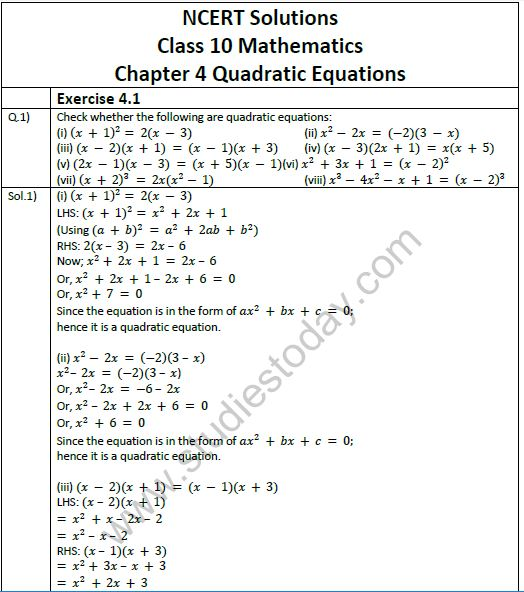 NCERT Solutions Class 10 Mathematics Chapter 4 Quadratic Equations