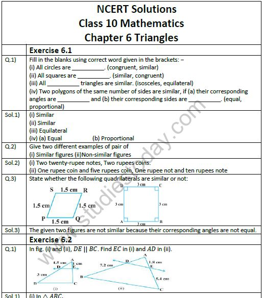 NCERT Solutions Class 10 Mathematics Chapter 6 Triangles
