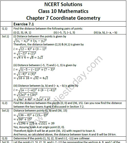 NCERT Solutions Class 10 Mathematics Chapter 7 Coordinate Geometry