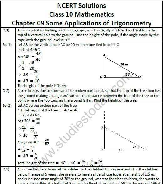 NCERT Solutions Class 10 Mathematics Chapter 9 Some