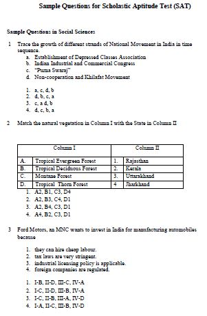 NTSE Sample Question Papers