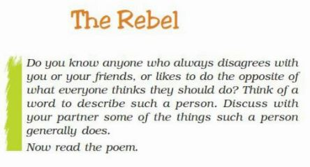 Ncert Solutions Class 7 English The Rebel Poem