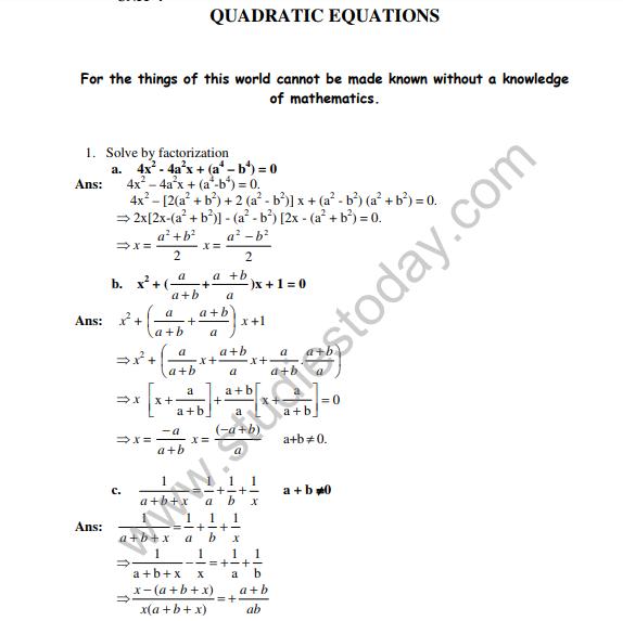CBSE Class 10 Mathematics HOTs Quadratic Equations
