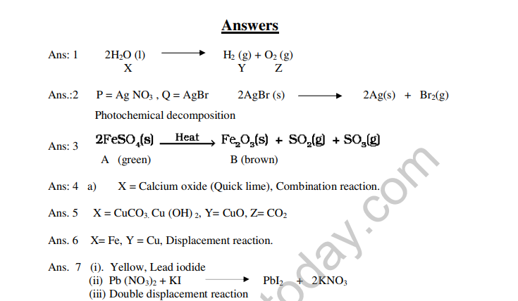 CBSE Class 10 Science HOTs Question Chemical Reactions And