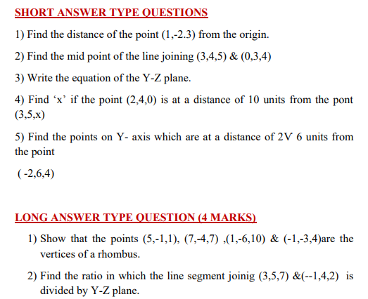 CBSE Class 11 Maths Coordinate Geometry Formulaes and