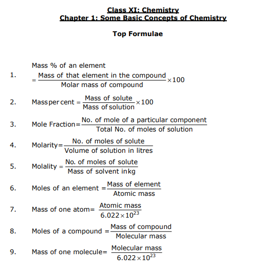 CBSE Class 11 Some Basic Concepts of Chemistry - FORMULAE