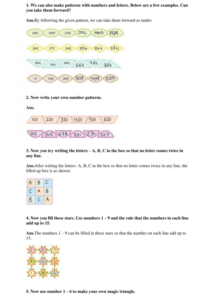 NCERT Solutions Class 4 Mathematics Chapter 10 Play With Patterns ...