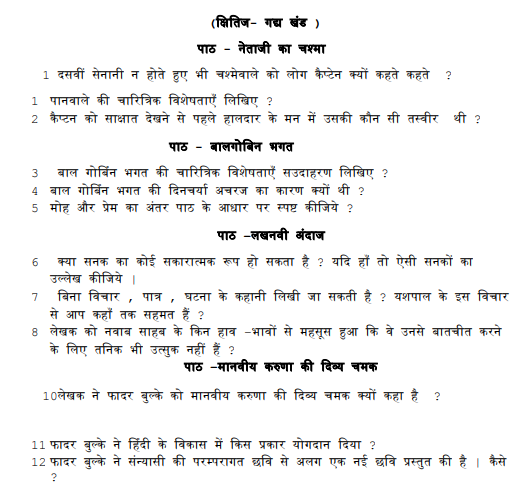 CBSE Class 10 Hindi Exam important questions Concepts for