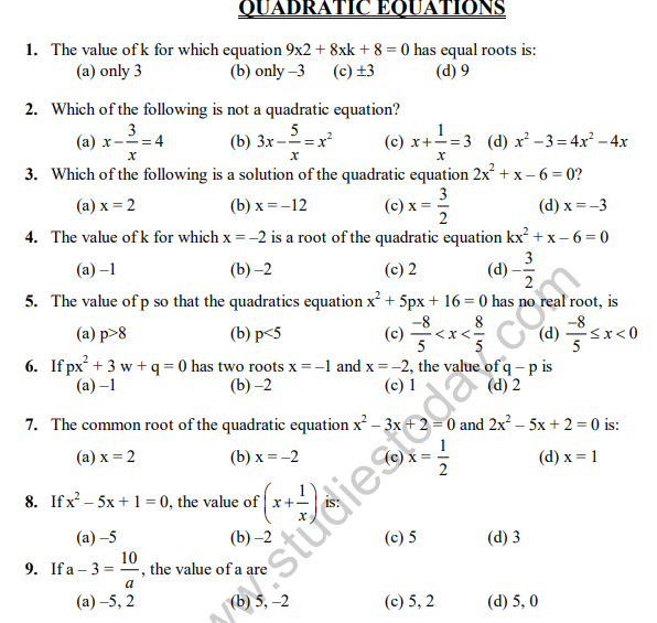 CBSE Class 10 Quadratic Equations MCQs Set C, Multiple ...