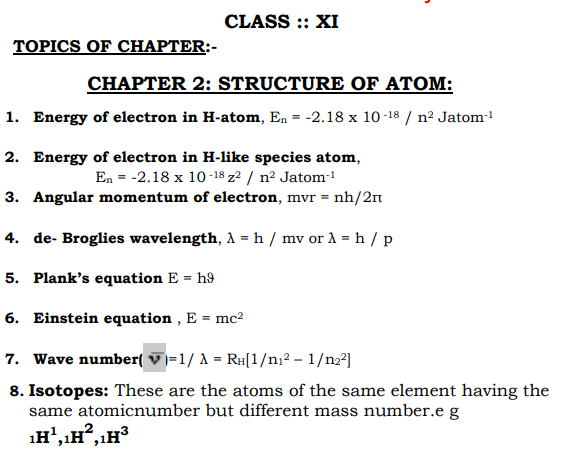 CBSE Class 11 Chemistry Revision Structure of Atom Concepts