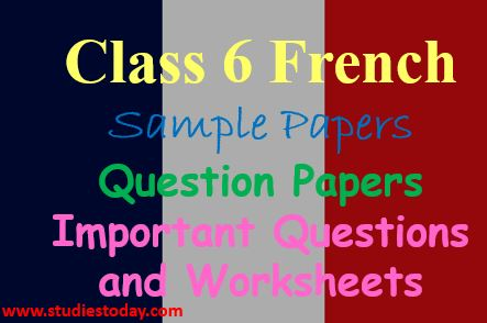 Class 6 French Worksheet Sample Papers Question Papers